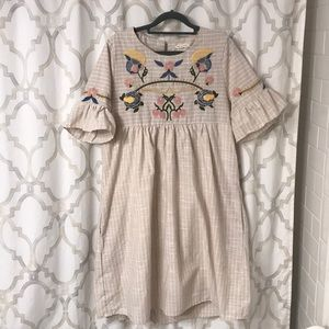 Embroidered baby doll boho dress linen